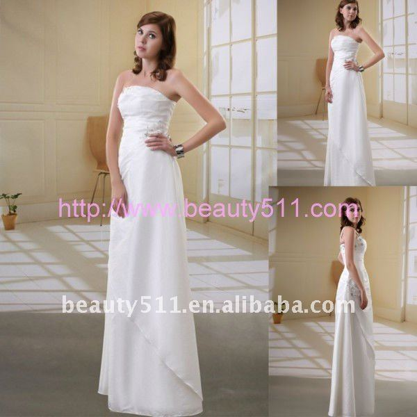 2017 baru smpile pantai bridal dress satu bahu lantai panjang sheath gaun pengantin AS045