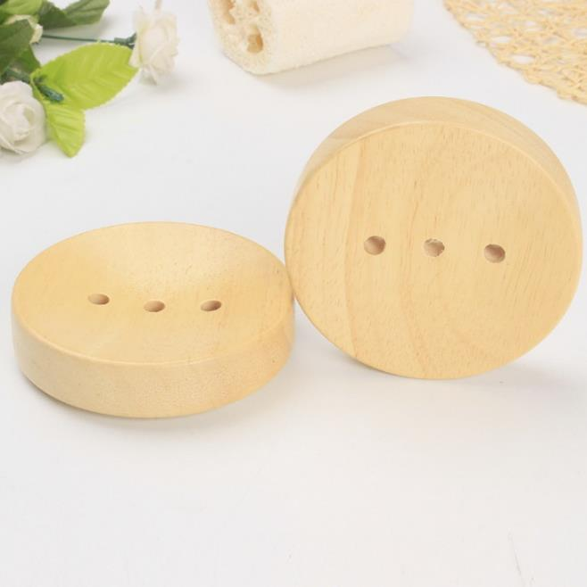 Wholesale Stock Small Order Bathroom Supplies Wood Round Soap Dish