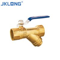 J202611 high quality female thread forged brass filter ball valve y strainer with drain valve
