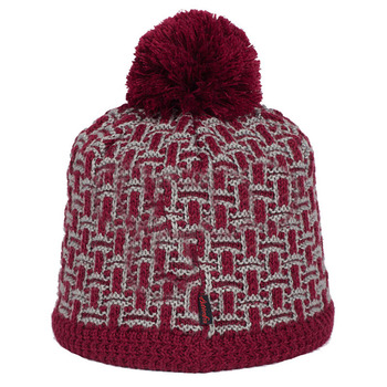 Red Check Pattern Thick Double Sided Knitted Beanie Hat With Fur