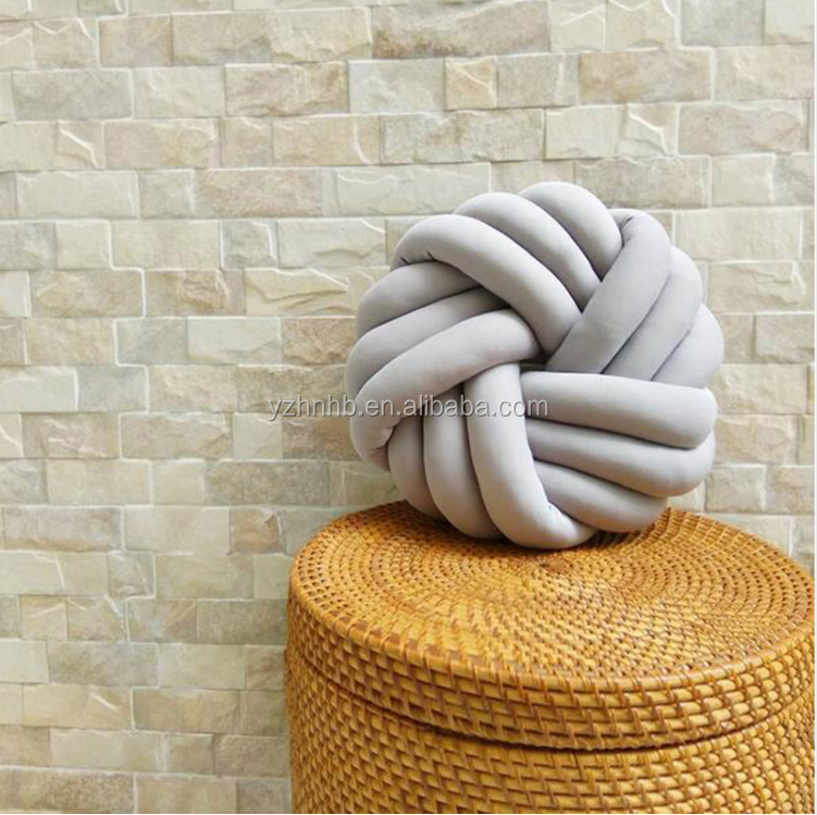Free Sample Cotton Knot Ball Pillow Stuffed PlushToy Handmade Knotted Braid Cushion Car Sofa Throw Pillow Decoration Home Decor