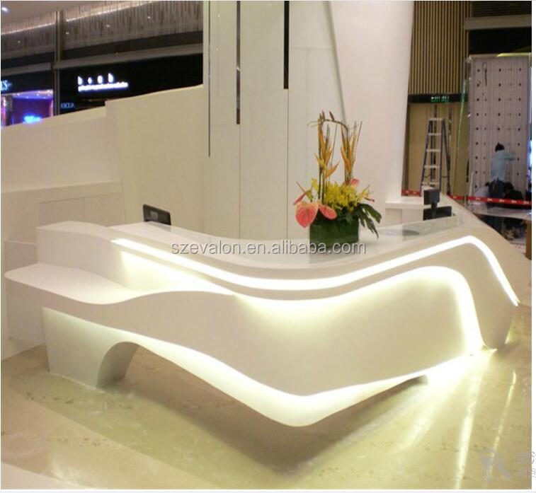 Hot sale modern salon white reception desk curved front desk for sale,acrylic solid surface Hotel reception desk
