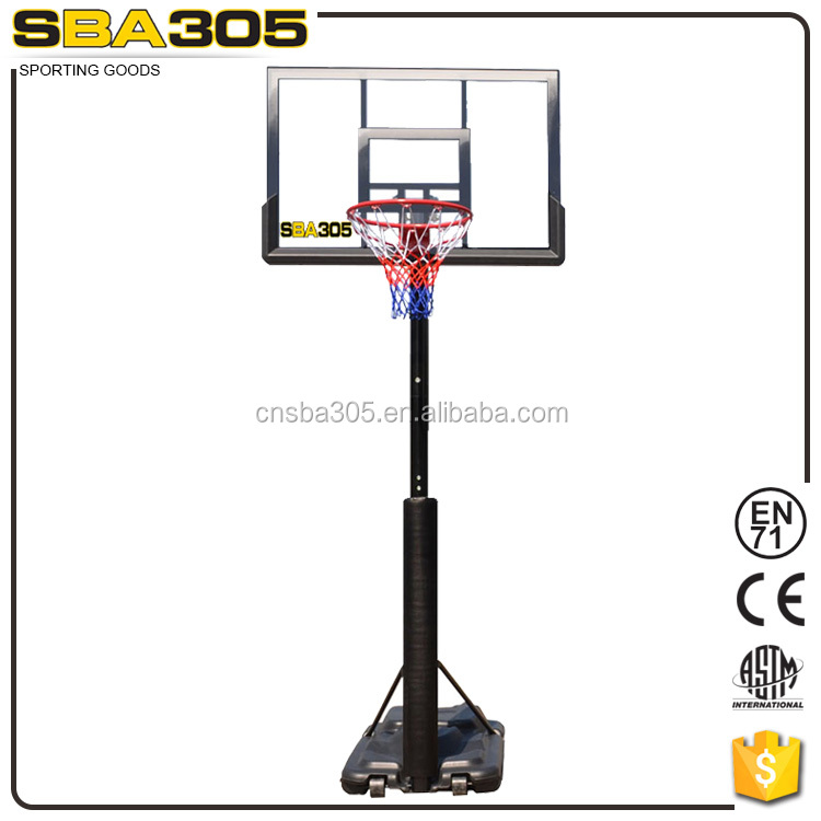 portable basketball stand set with hdpe base square pole