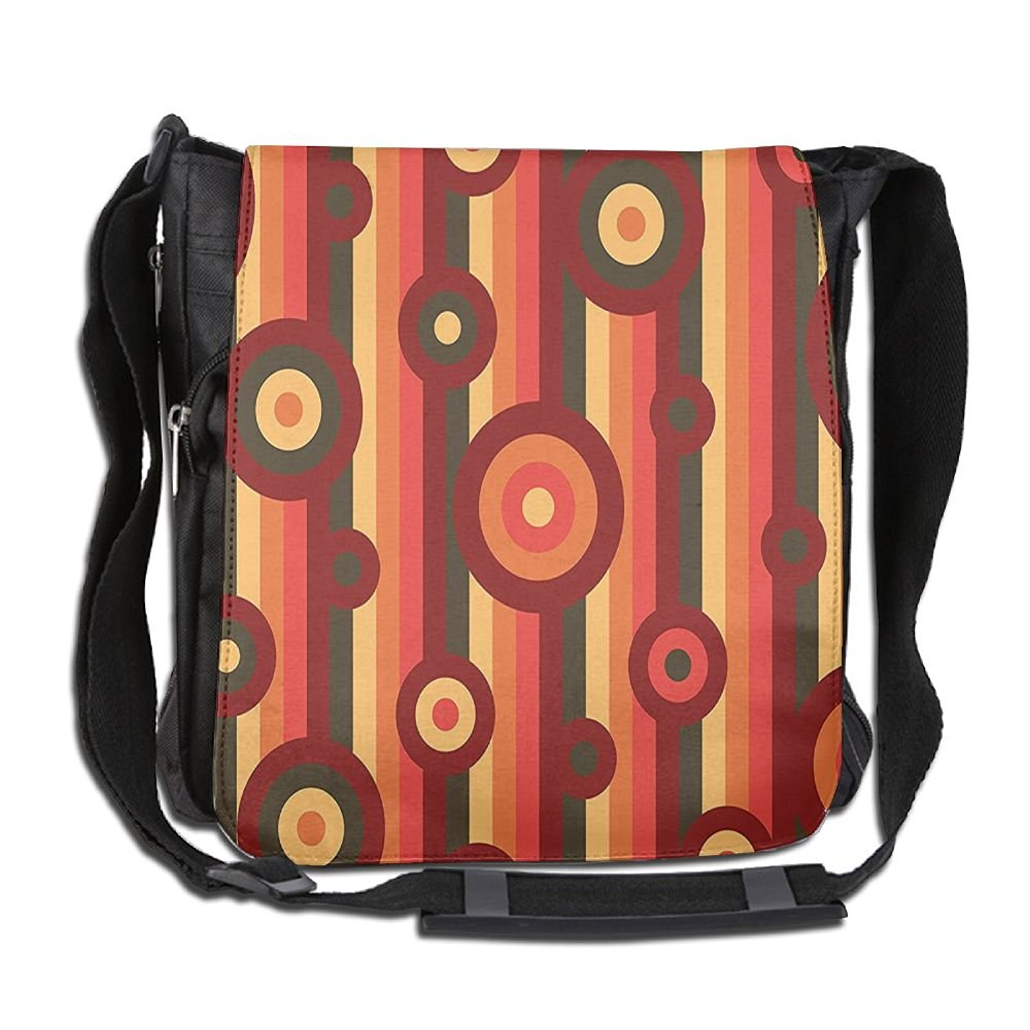 2a6d86358 Get Quotations · Lovebbag Colorful Abstract Funky Pattern Circles And Dots  On Striped Crossbody Messenger Bag
