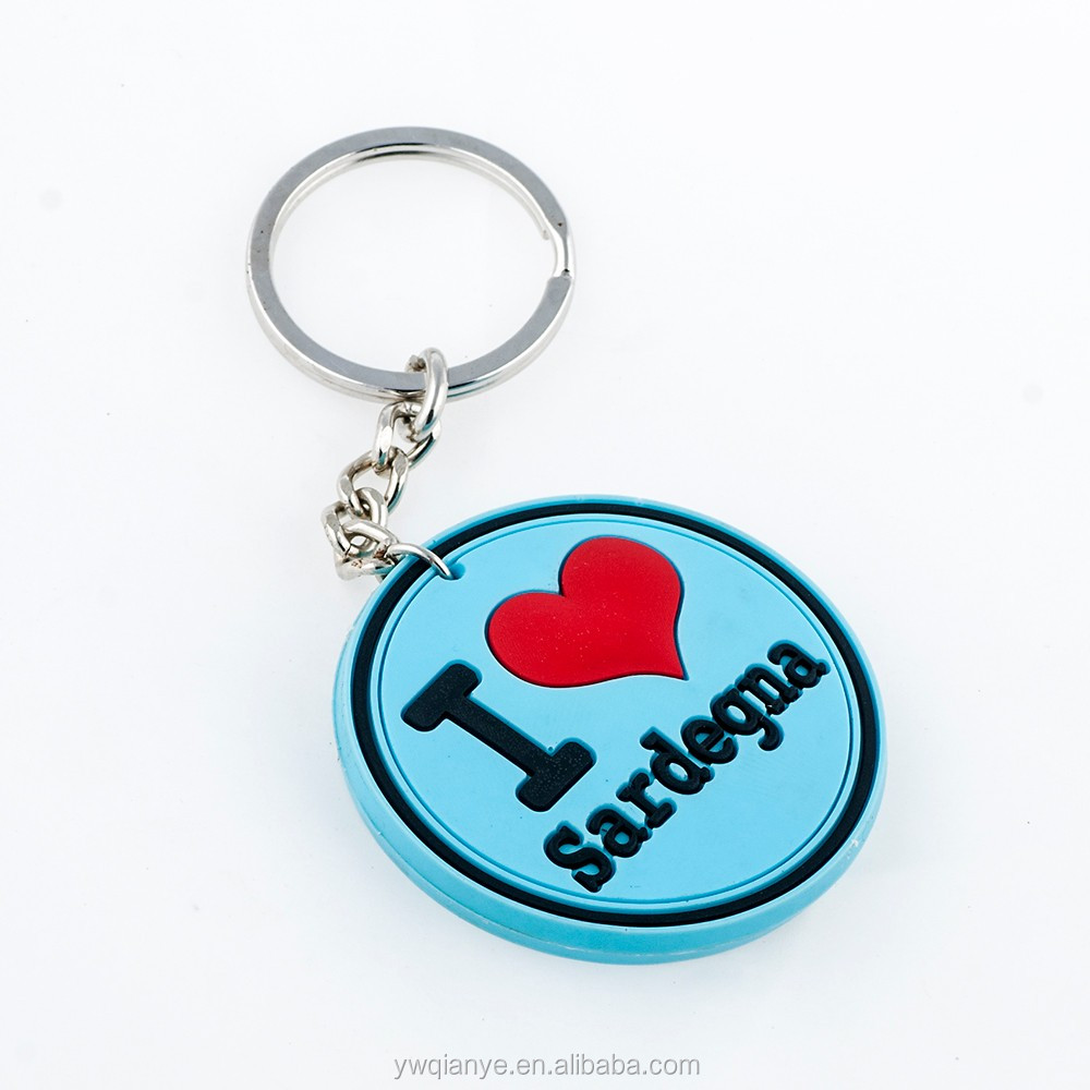 3D Cheap Wholesale Soft PVC Keychain with Round Shape for Souvenir Hand Made in Chian