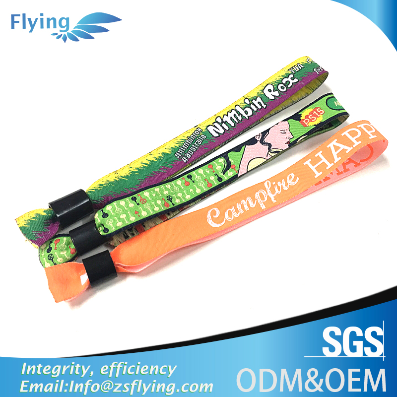 Wholesale High quality promotional usb woven festival wristband clasp