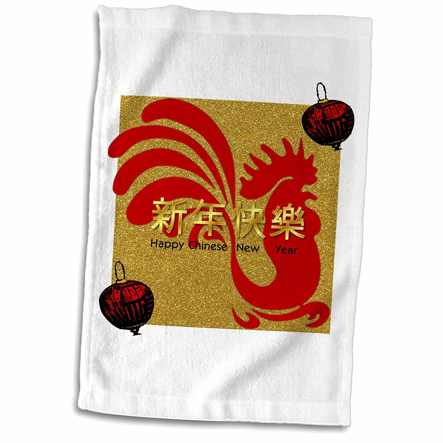 3dRose Florene Chinese New Year Designs - Image of 2017 Chinese New Year Red Rooster Lantern - Gold Faux Glitter - 12x18 Towel (twl_252062_1)