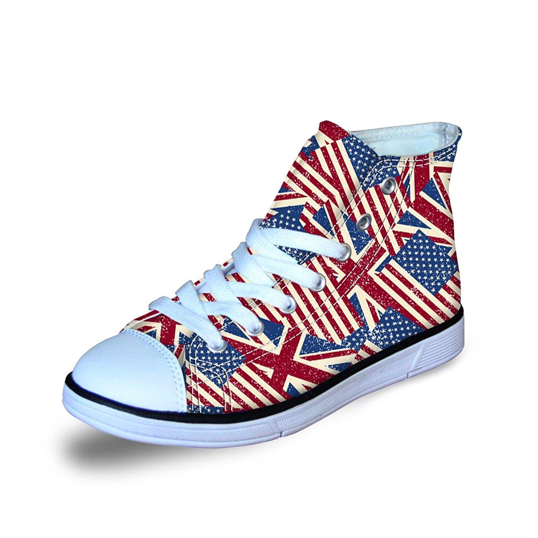 a5957d444ba61 FOR U DESIGNS Fashion US Flag Print High Top Lace Up Casual Little Kids  Canvas Shoes