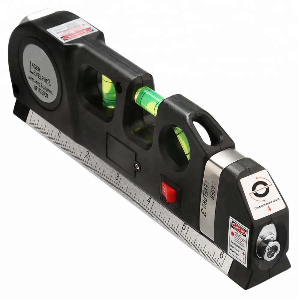 Multipurpose Laser Level Laser Measure Line 8ft+ Measure Tape Ruler Adjusted Standard and Metric Rulers Laser Level