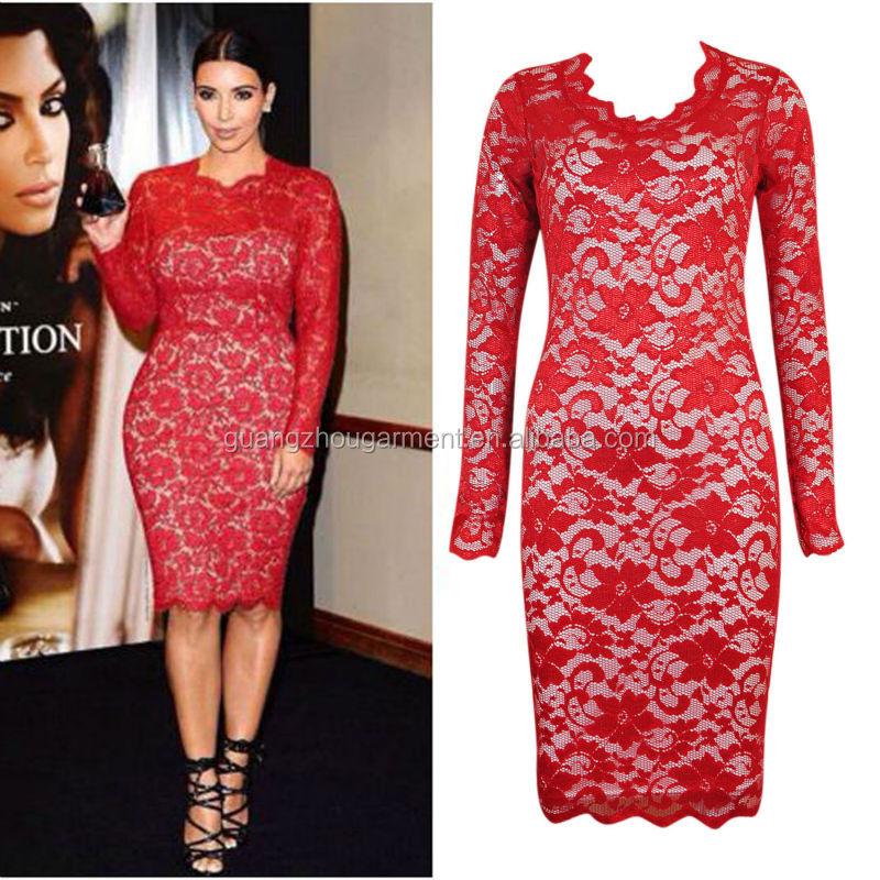 Más Tamaño Kim Kardashian Celebrity Open Front Manga Larga Bodycon ...