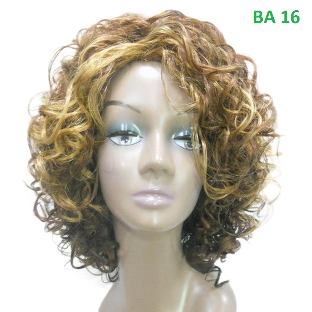 "Medium Curly 13"" Dark+HL Factory Price Hand Made Vogue Classic Long lasting Easy Wearing Curly Hair Wig"