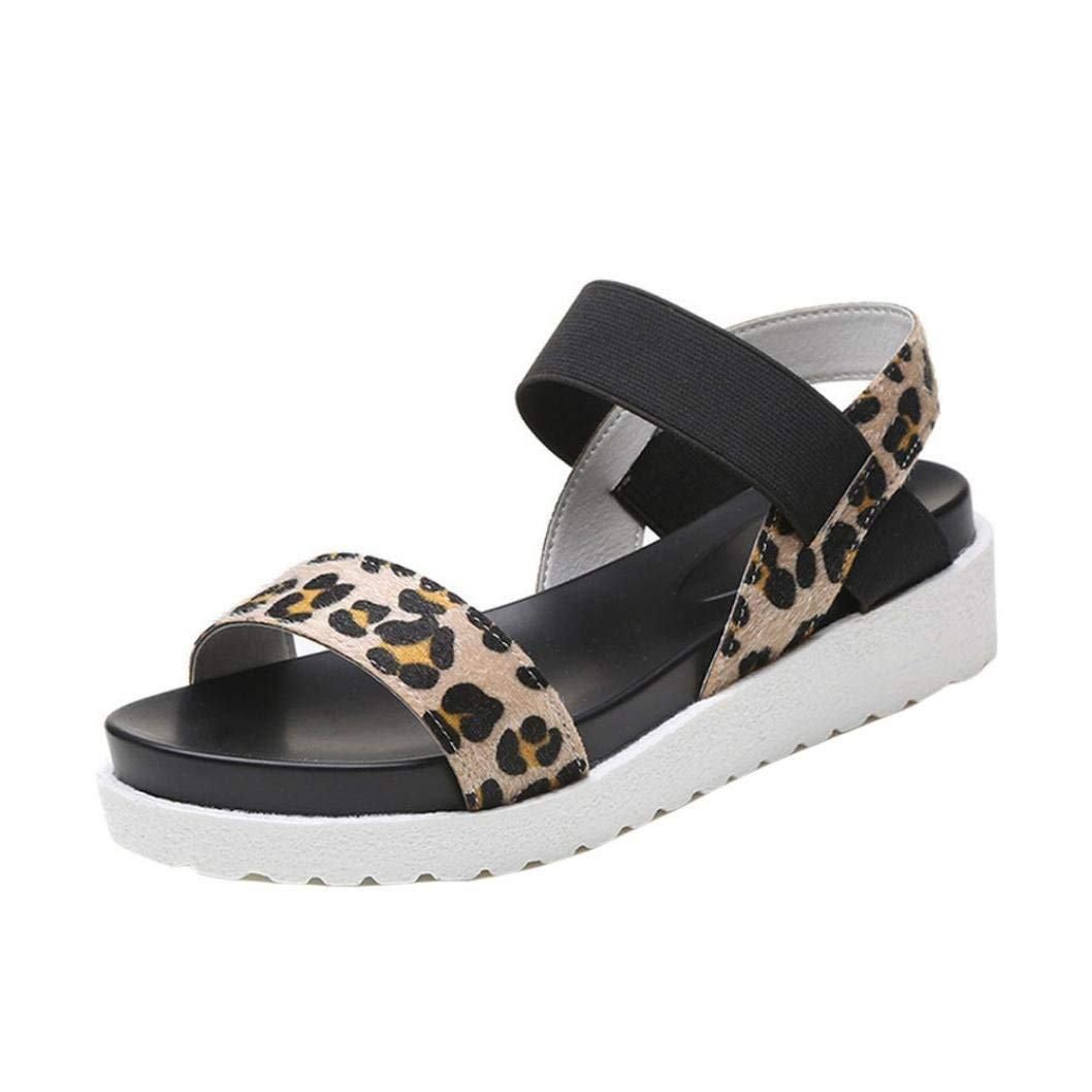 ca7cd231993ef Get Quotations · Sandals Clearance, Ladies Women Leather Flat Shoes Beach  Shoes Rome Sandals Flat Platform Sandals Duseedik