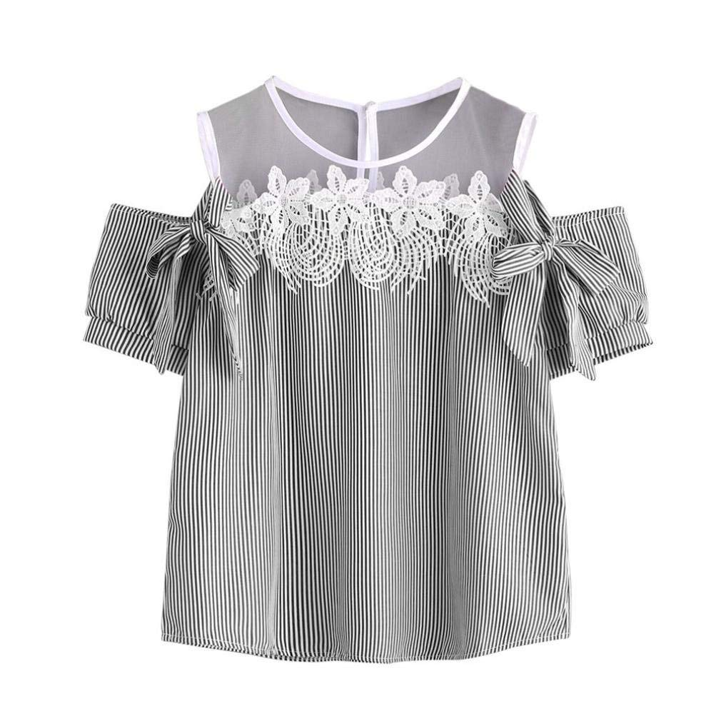 3f08dfd919871 Howstar Women s Sexy Cold Shoulder T-Shirt Lace Striped Blouse Summer Vest  Short Sleeves Shirt