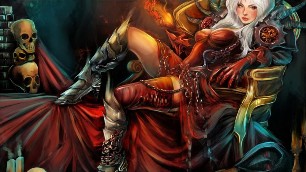 24X36 INCH / ART SILK POSTER / <font><b>Gothic</b></font> Magic Skull Warrior Armor Throne Wearing boots Fantasy Girls <font><b>Home</b></font> <font><b>Decoration</b></font> Canvas Poster