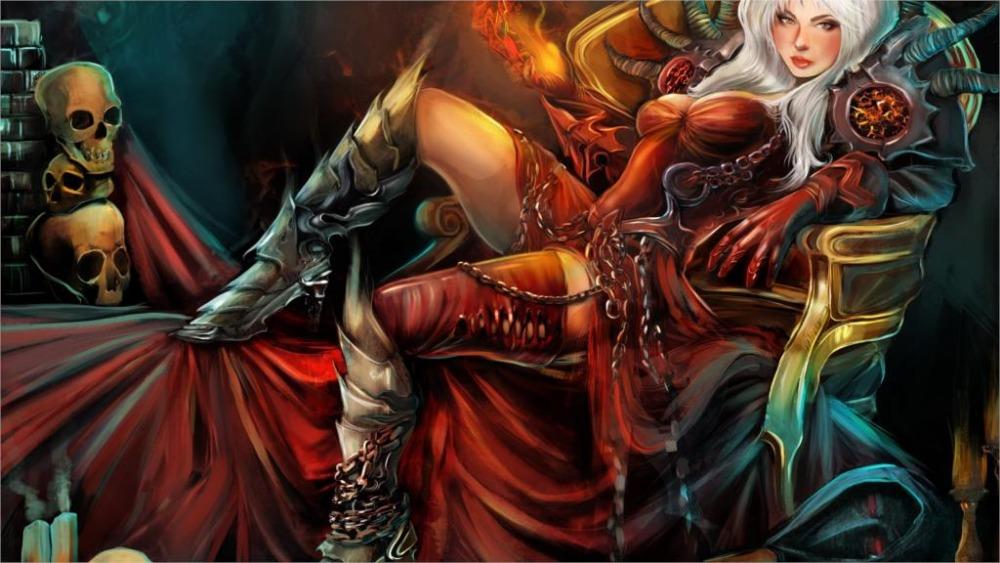 24X36 INCH / ART SILK POSTER / <font><b>Gothic</b></font> Magic Skull Warrior Armor Throne Wearing boots Fantasy Girls <font><b>Home</b></font> <font><b>Decoration</b></font> Canvas Poster