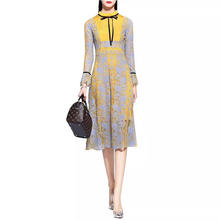 High quality yellow lace dress long sleeve stand collar lace dress women casual dresses made in China