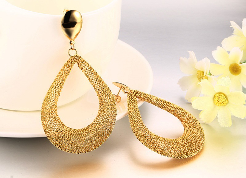Stainless steel new mesh water drop earrings women