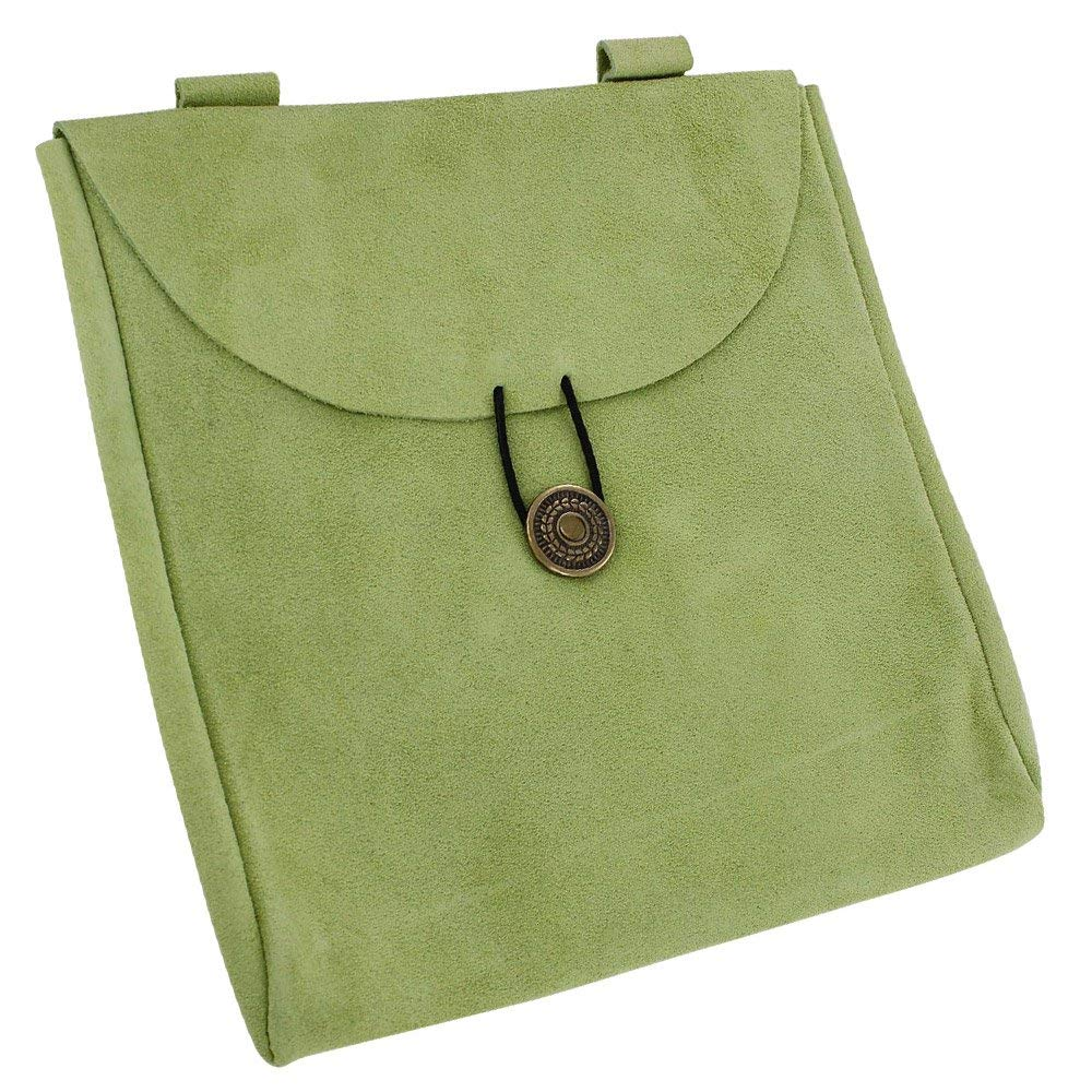 Green Jester's Suede Leather Pouch