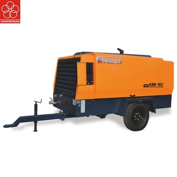 Hongwuhuan 16 bar 600cfm portable diesel engine driven screw air compressor