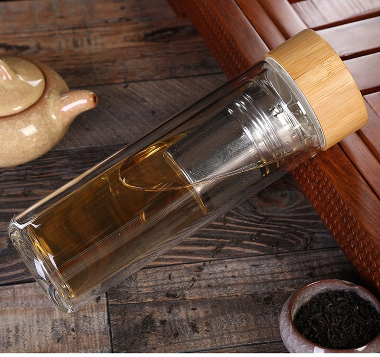 ZEYU Double Wall Glass Drink Tea Water Bottle With Stainless Steel Infuser and Bamboo Lid