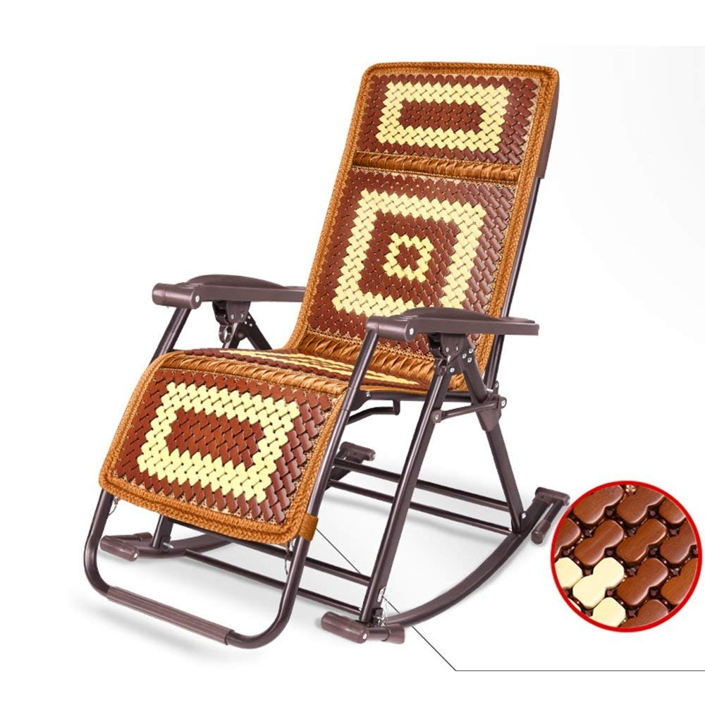 Lounge Chairs ZHIRONG Folding Chairs, Rocking Chair, Office Siesta Chair, Casual Armchair, Adjustable Angle Sun Loungers, Garden Chairs, Summer Beach Chairs, Removable Bamboo Mat