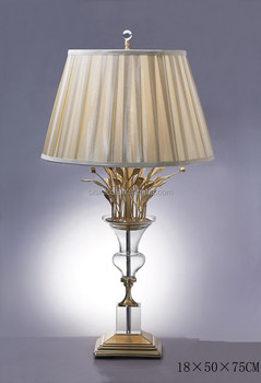 Fancy Table Lamp With Shade, Imitate Flower Vase Shape Crystal Bronze Table  Lamp, Elegant