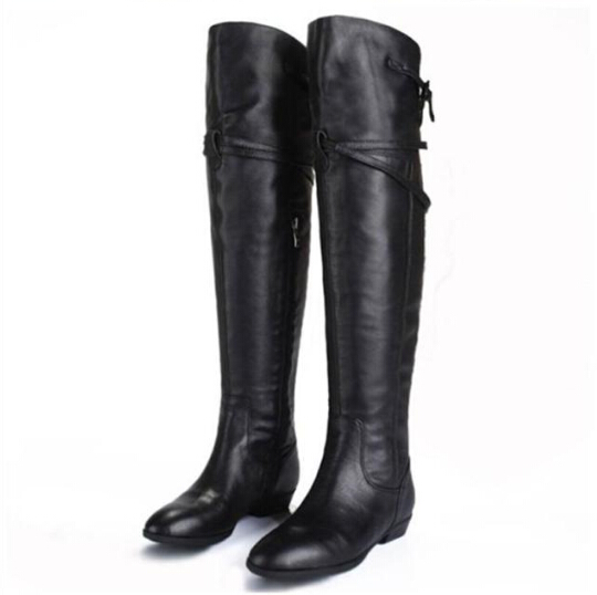 db307db5bfae Get Quotations · Women Winter Boots Leather Autumn And Winter Flat Heel  Black Knight Boots Long Knee High Boots