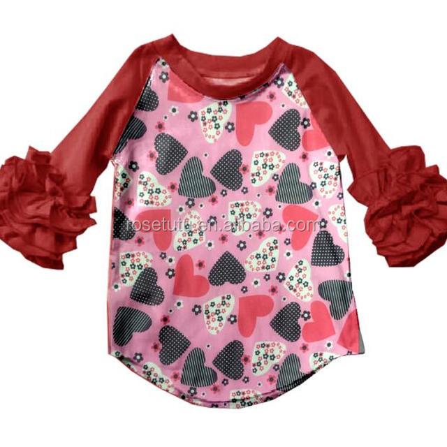 cb0264509b4 Boutique Children Feather Triple Ruffle Raglan sleeve baby Icing Raglan  Shirts