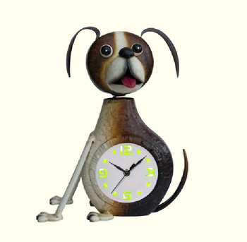 Cartoon animal shape living room decor LED light metal wall clock