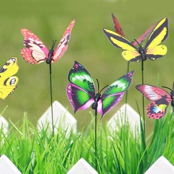 Bon 50 PCS Colorful Butterflies Garden Ornament Flowerpot Plant Decor Butterfly  Stick Garden Decoration Simulation Butterfly,
