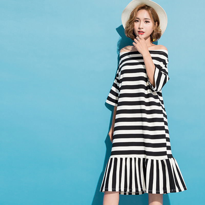 Summer Spring New Fashion Black Green Striped Slash Neck Ruffles Hem Half Sleeve Casual Dress Woman F36301