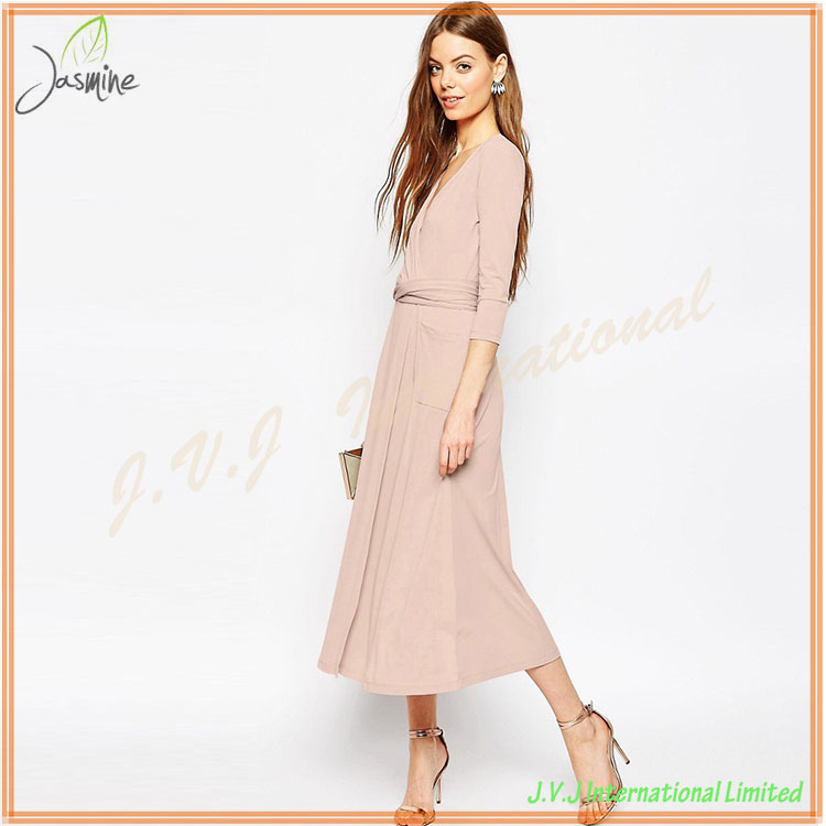Standard Design Best Quality Competitive Price Regular fit True to Size Wrap Maxi Dress