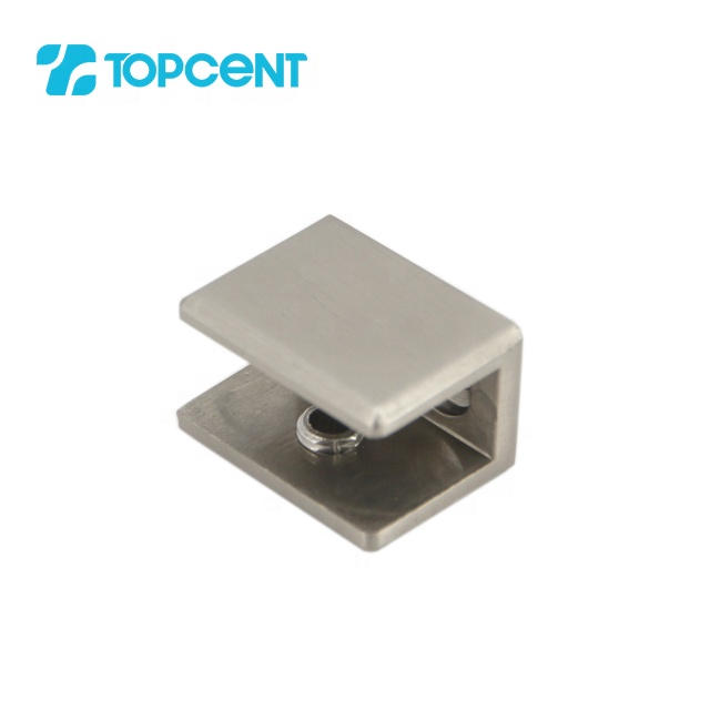 TOPCENT 90 degree decorative glass corner holder mirror mounting shelf clips bathroom glass deck railing clamp bracket
