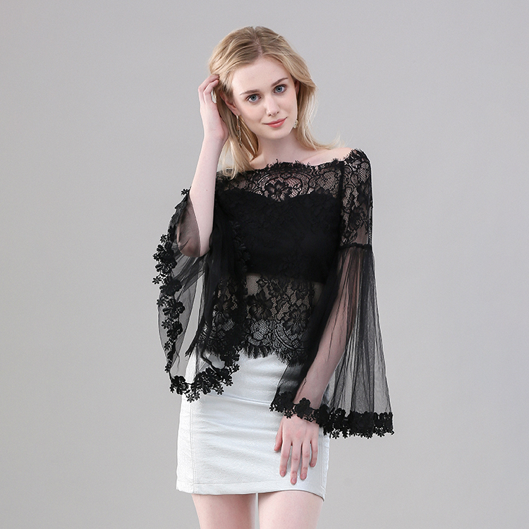 New design flare sleeves off shoulder sexy women's lace embroidered stitching top