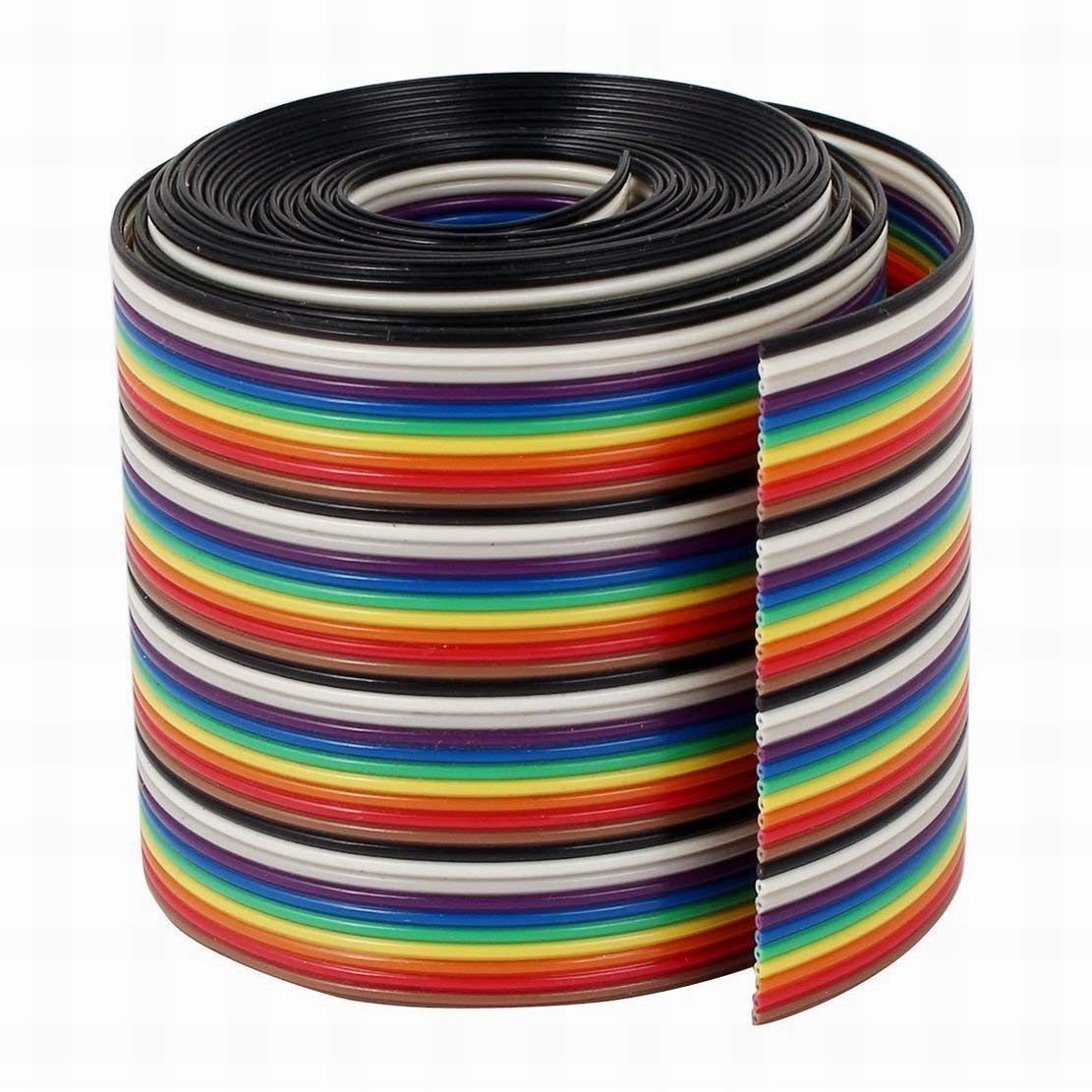 Fuxell Ribbon IDC Cable Wire Rainbow Cable Flat Color Rainbow, 2 m, 6.6', 40 Way, 40 Pin
