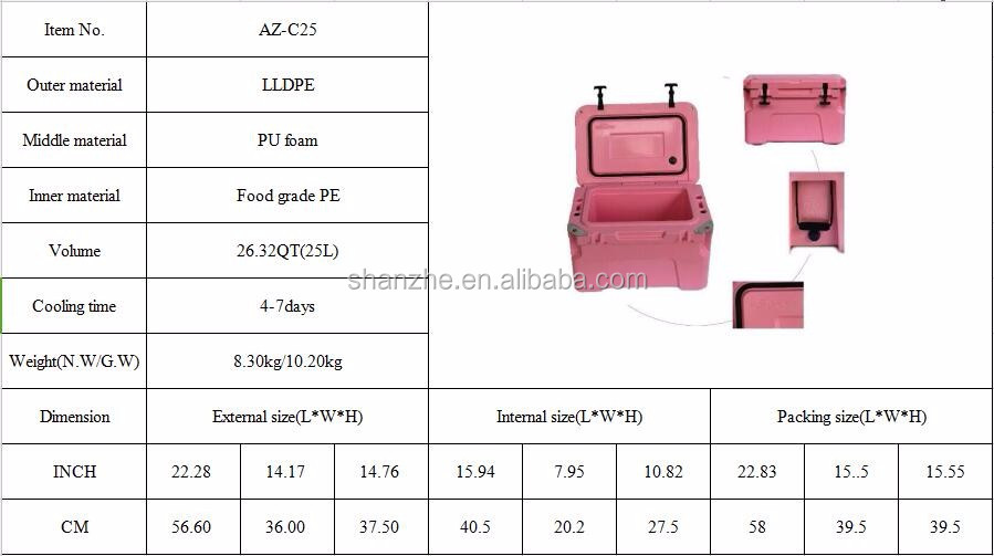 Easy Moving cold resistant travel 25L rotomolded cooler box