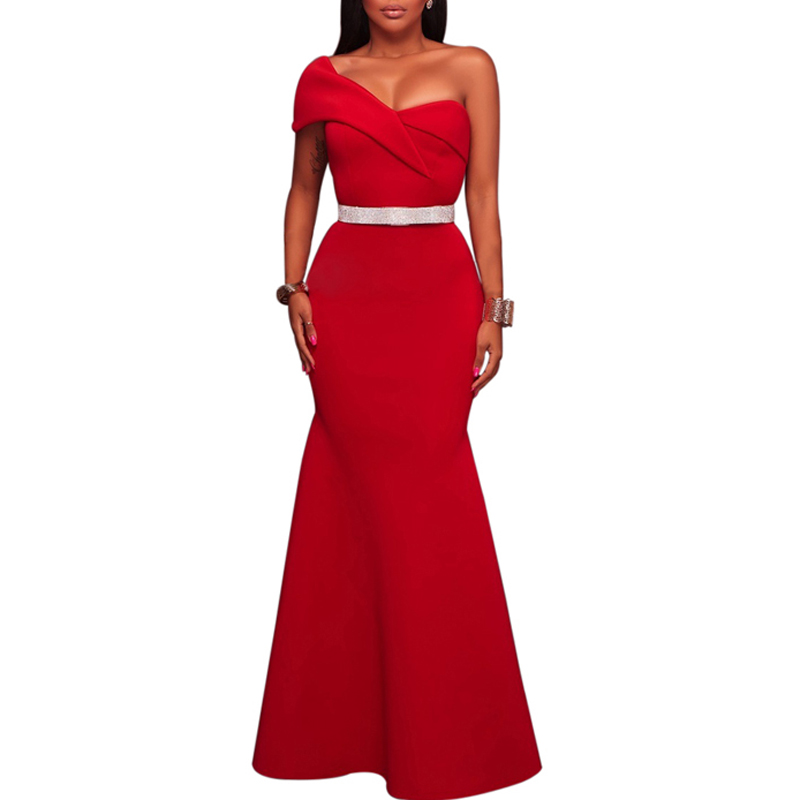 Wholesale Stylish Red Sexy One Shoulder Ponti Gown Women Evening Dress, Customized