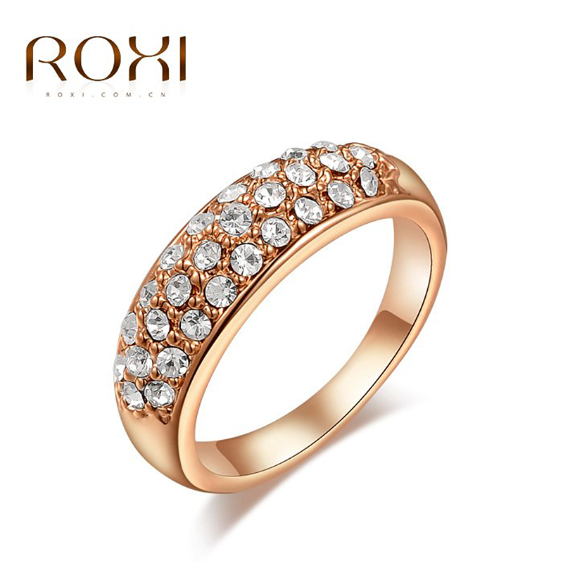 Round clear crystal 18K Gold platinum plated ring fashion jewelry Made with Genuine Austrian Crystals Full