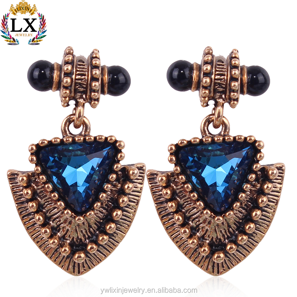 ELX-00288 small gold earrings designs for girls crystal triangle shaped earrings vintage earrings antique gold