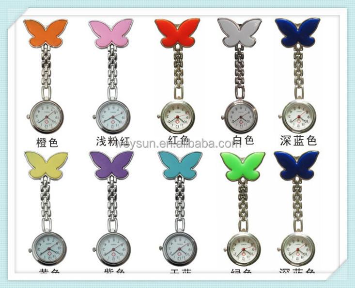 Pocket Medical Nurse Fob Watch Women Dress Watches 4 Colors Clip-on Pendant Hanging Quartz Clock Butterfly Shape Watch, Multi