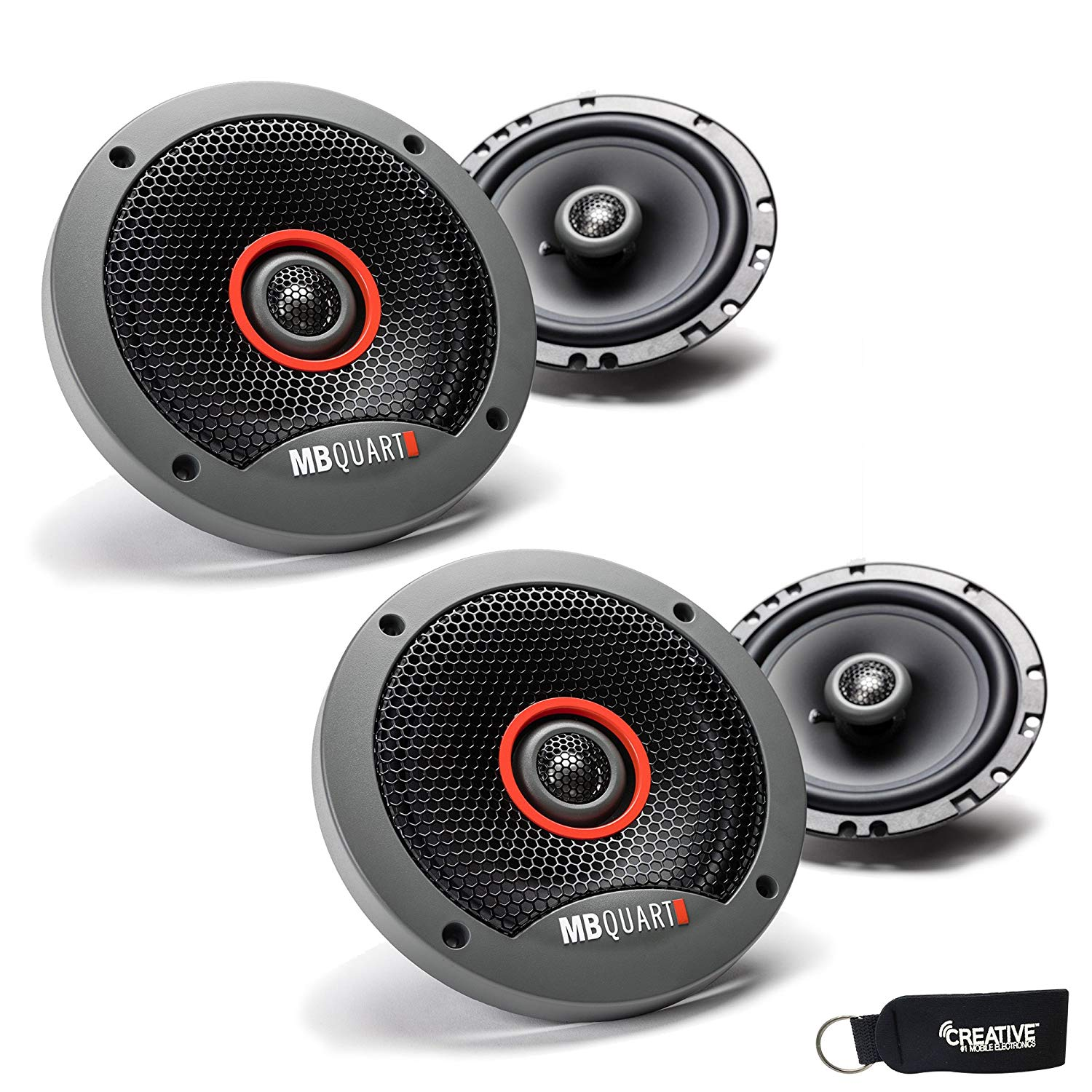 6.5-Inch Set of 2 MB Quart DK1-116 Discus 2-Way Car Coaxial Speaker System with 0.75-Inch Aluminum Dome Tweeter on Silk Surround