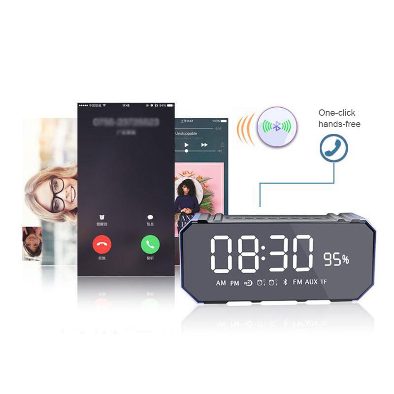 Portable Dual Wireless Loudspeaker Stereo Sounds Bluetooth Speaker With FM TF Radio Alarm Clock Function