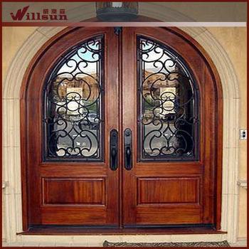 Arch mahogany double entry door buy arch mahogany double for Main door arch designs
