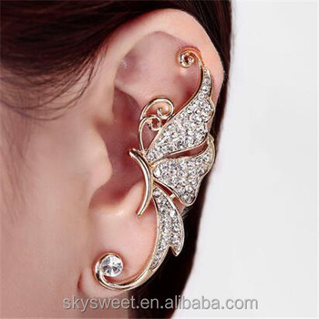 Korea Fashion Full Diamond Erfly Shaped Earrings Ear Clips Without Holes Swtmd3140