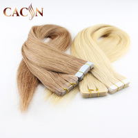 Factory price virgin brazilian hand tied skin weft pu taped hair extension