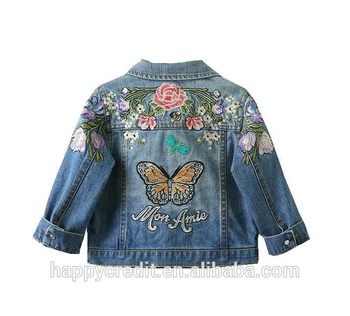 d0a5f8f68 Unique Design Embroidered Flowers Sequins Butterfly 100% Cotton Soft Heavy  Custom Kids Denim Jackets