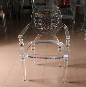 Acrylic chair with Cushion, French Louis XVI Antique Style Acrylic Chair