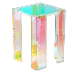 Rainbow laser PVC film decorative clear lucite acrylic side end table bedroom night stand