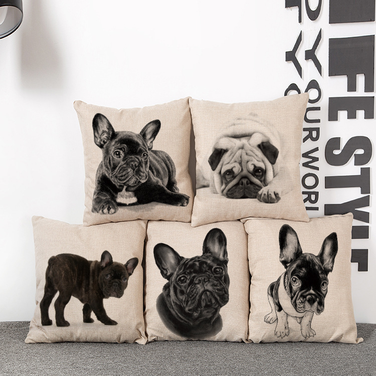 Car Seat Cushion Home Decor  Cushion  French Bulldog Sofa Chair Cushions Cotton Decorative Pillows Throw Pillow Cojines 45*45cm