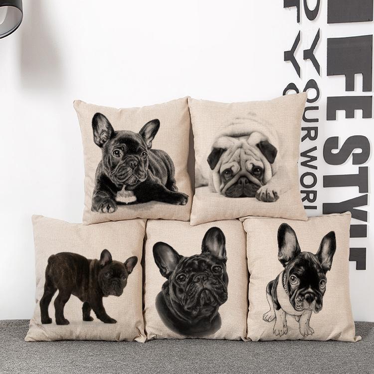 Car Seat Cushion Home Decor  Cushion  French Bulldog Sofa Chair Cushions Cotton Decorative Pillows Throw Pillow Cojines 45*45cm